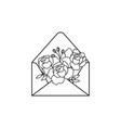 open envelope with flowers outline doodle style vector image vector image