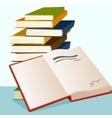 opened book lying near stack of books vector image vector image