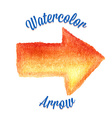Orange watercolor arrow vector image vector image
