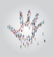 people crowd gathering in shape palm hand icon vector image vector image