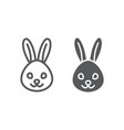 rabbit line and glyph icon animal and zoo vector image vector image