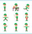 santa claus helper elf characters set in different vector image vector image