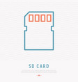 sd card thin line icon vector image vector image