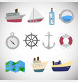 sea transportation set on white background vector image