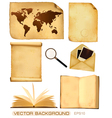set of old paper sheets and old map vector image vector image