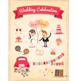 set wedding cartoon design elements vector image