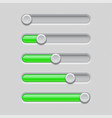 slider bars gray green volume level console vector image