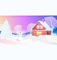 snowman near snow covered house in winter night vector image