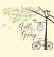 spring landscape with bike tree and lamppost vector image vector image