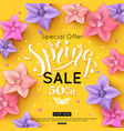 spring sale banner design with colorful flowers vector image vector image