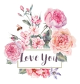 spring vintage floral greeting card with vector image vector image