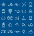 transportation line color icons on blue background vector image vector image