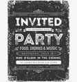 vintage invitation sign on chalkboard vector image vector image