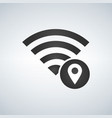 wifi connection signal icon with map pointer or vector image