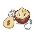 with money bag macadamia character cartoon style vector image