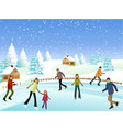 Winter skaters vector image