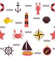 marine seamless pattern sea theme nautical vector image