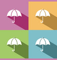 umbrella icon with shade on colored background vector image