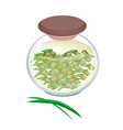 A Jar of Pandan Tea with Pandan Leaves vector image