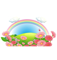 A rainbow and a garden of flowers at the hills vector image vector image