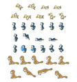 animal enemies game sprites vector image