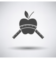 Apple with measure tape icon vector image vector image