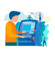 ashing out money with an atm vector image vector image