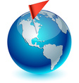 Blue Earth with flag vector image