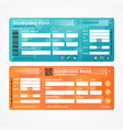 boarding pass tickets airplane set vector image vector image