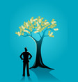 businessman looking at money tree vector image vector image