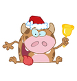 Calf Cartoon Character Ringing A Bell vector image vector image