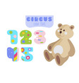cartoon style numbers 1 2 3 4 5 and teddy bear vector image vector image
