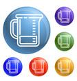 chemical jug icons set vector image