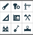 construction icons set with chapel pipe with vector image