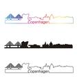 copenhagen skyline linear style with rainbow vector image