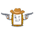 cowboy picture frame character cartoon vector image