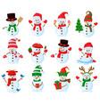 cute christmas snowmen cartoon winter holidays vector image vector image