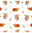 cute seamless pattern with funny hedgehogs and vector image vector image