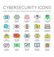 cyber security thin line icons set computer vector image vector image