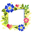 decorative frame of flowers leaves hearts vector image
