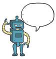 digitally drawn robots and speech bubbles design vector image vector image