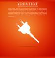 electric plug icon isolated on orange background vector image vector image