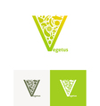 emblems with fruit and vegetables vector image