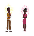 flat adult african black man woman thinking vector image