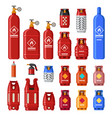 gas tank gaz cylinders with acetylene propane or vector image vector image