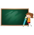 girl on blackboard template vector image