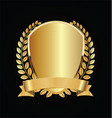 gold and black shield with laurels 01 vector image
