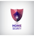 home security logo 3d red shield with vector image