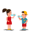 Little boy and girl drinks water Kids drinking vector image vector image