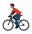 man wear glasses riding bicycle transport vector image vector image
